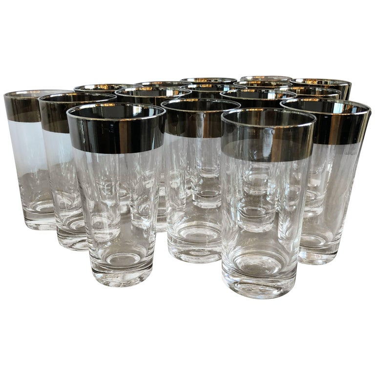Mid-Century Modern Set of 16 Dorothy Thorpe Silver Overlay Collins' Glasses