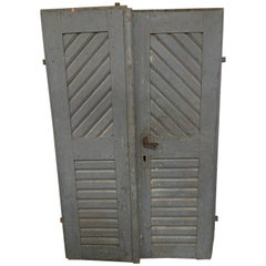 Pair of Antique French Painted Farm Doors
