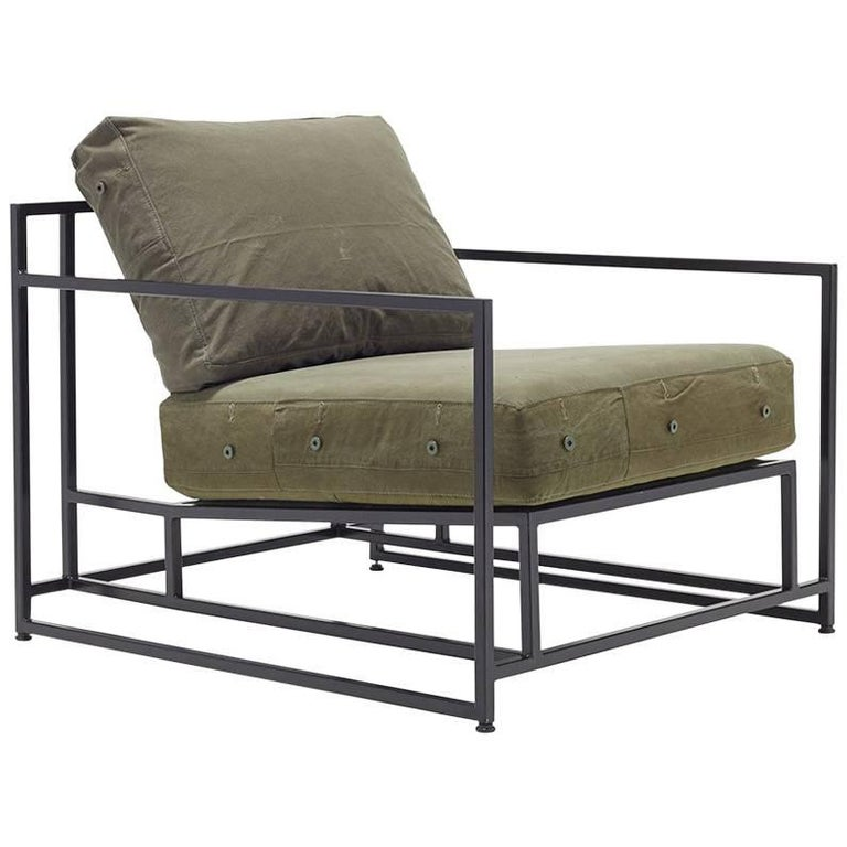 Vintage Military Canvas and Blackened Steel Armchair