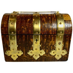 Antique English Brass and Burled Walnut Box, circa 1870-1880