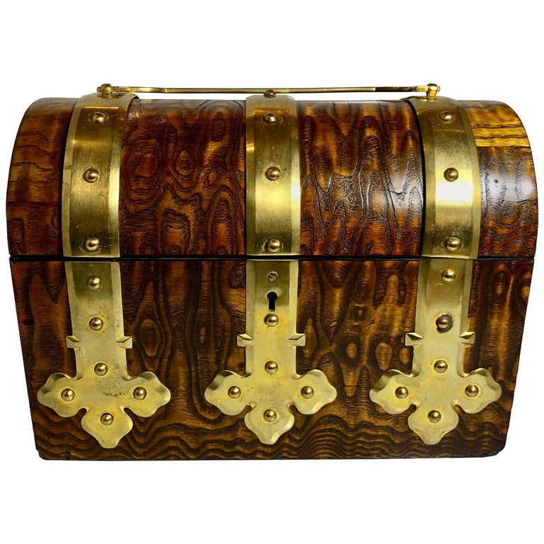 Antique English Brass and Burled Walnut Box, circa 1870-1880