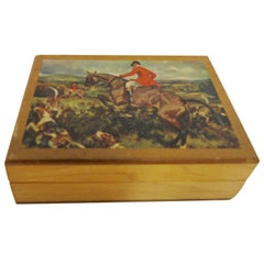 Vintage Decoupage Hunt Scene Handmade Wooden Box