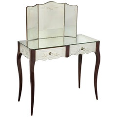 French Deco Mirrored Two-Drawer Vanity with Trifold Mirror