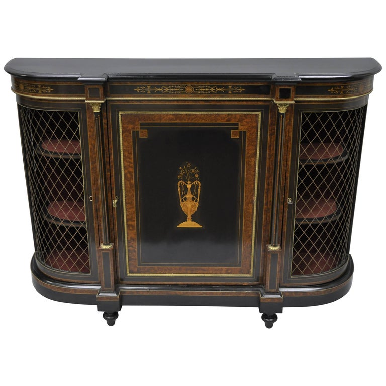 French Napoleon III Ebonized Brass Inlay Louis XVI Style Sideboard Cabinet