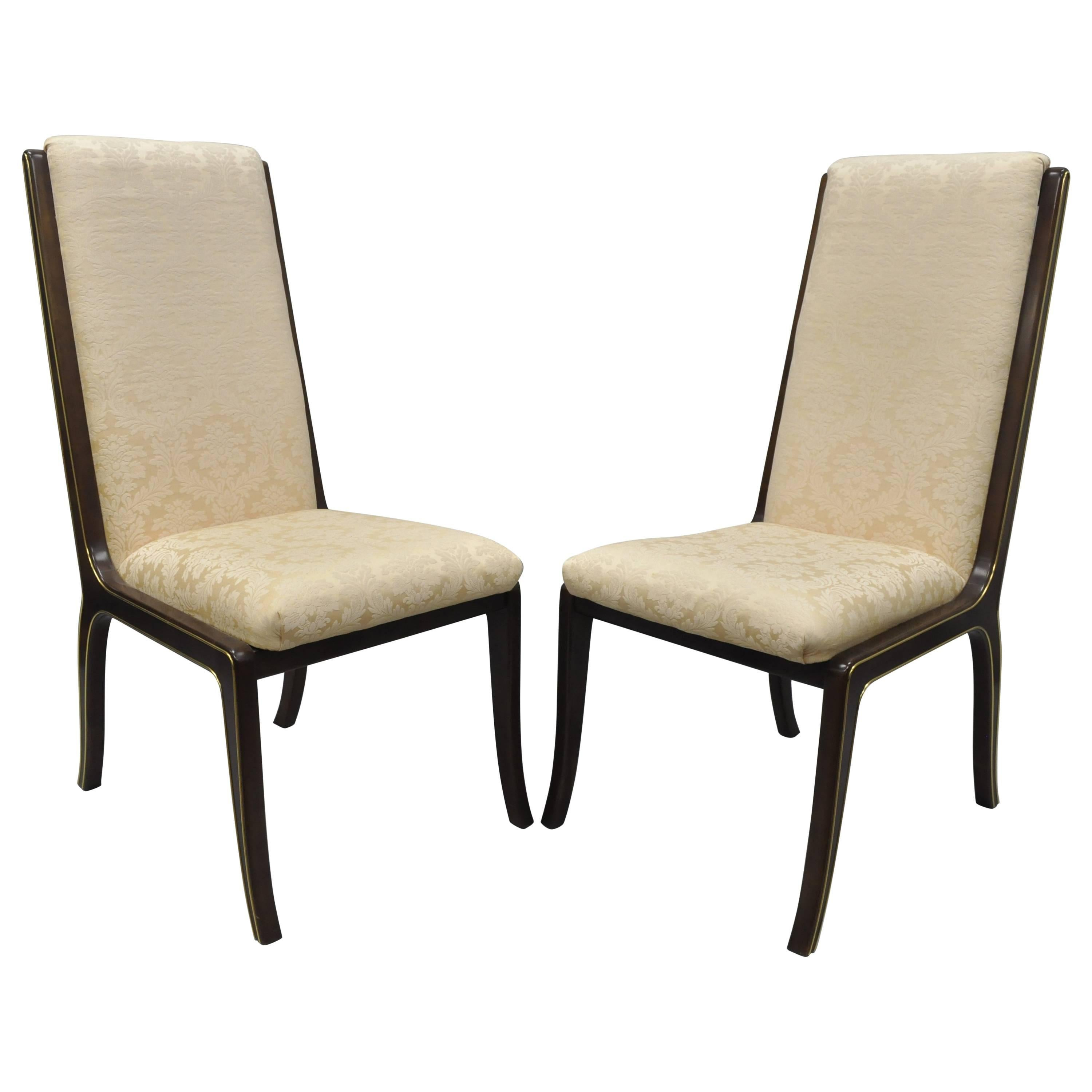 Pair William Doezema for Baker Mastercraft Brass Inlay Upholstered Dining Chairs