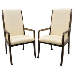 Mastercraft for Baker Brass Inlay Trim Dining Room Chairs Armchairs, Pair