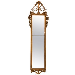 Early 19th Century Louis XVI Gesso and Wooden Hanging Finely Carved Wall Mirror