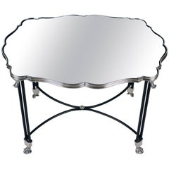 Antique French Mirrored Surtout de Table Now Mounted as a Low Table