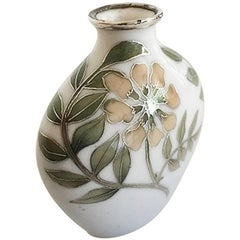 Bing & Grondahl Art Nouveau Unique Vase by Emma Krogsbøll with Silver Inlay
