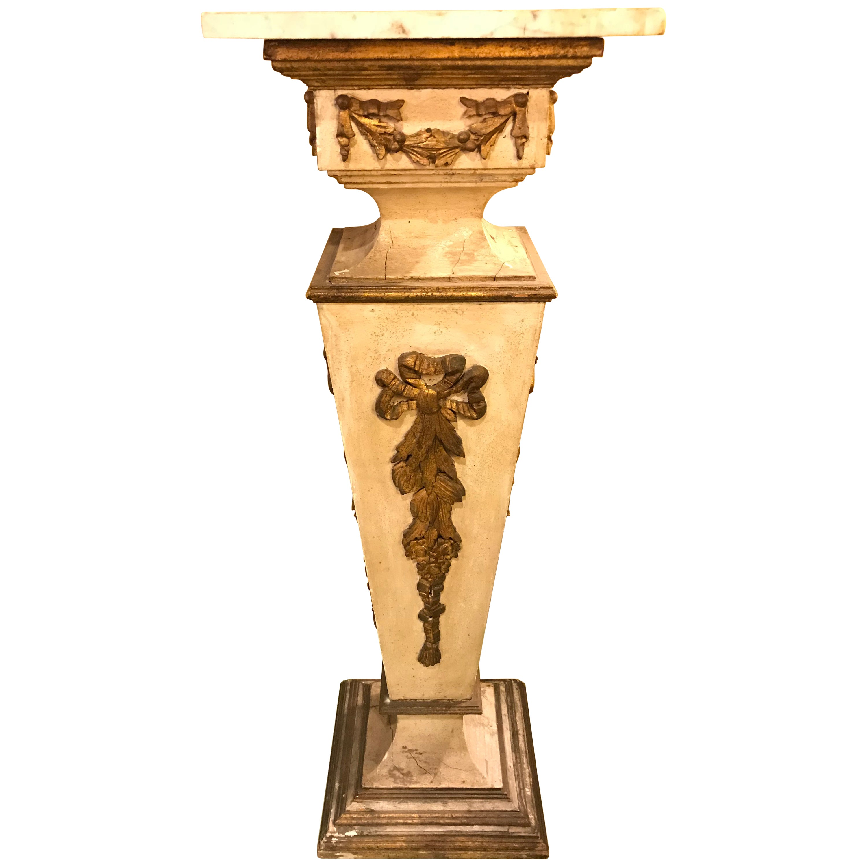 Antique Italian Giltwood and Paint Decorated Pedestal Column, 19th Century