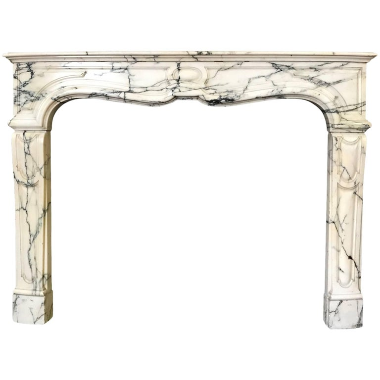 Pompadour Style Mantel Carved in Arabescato Marble 'NY171' For Sale