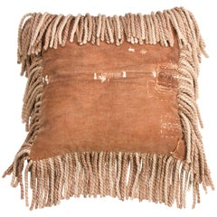 Antique Sakaburkuo and Boro Finished with Fringe Pillow
