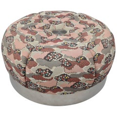 Large Round Pink Ottoman Coffee Table Chrome Souffle Pouf