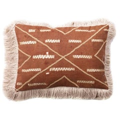 Antique Hand Sewn Kuba Cloth with Leather Pillow