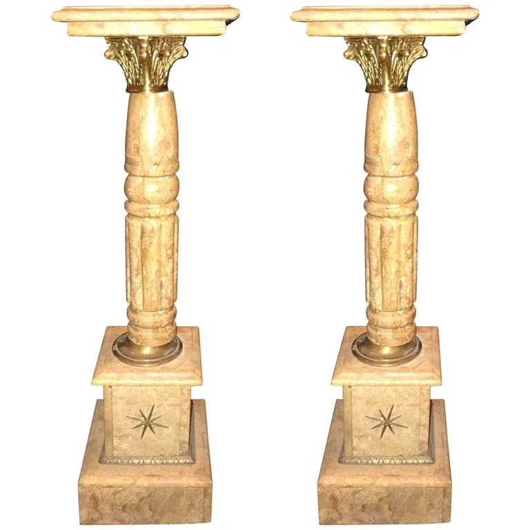 Pair of Antique Pedestals or Columns Marble with Bronze Mounts For Sale