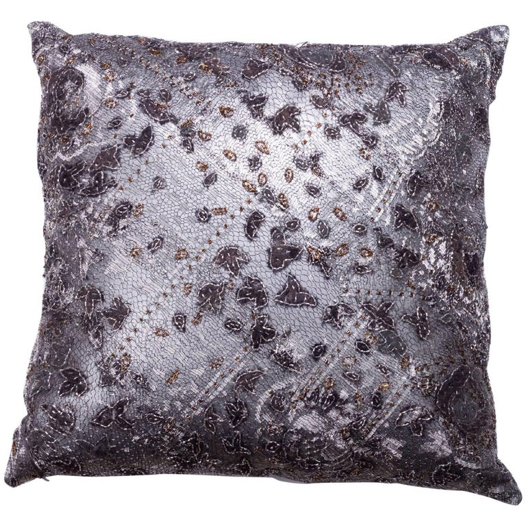 Couture Lace and Leather Pillow For Sale