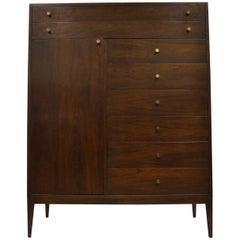 Paul McCobb Style Walnut Gentleman's Tall Chest Dresser Mid-Century Modern