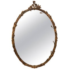 Italian Gilt Gesso and Wood Oval Wall or Console Mirror