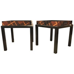Pair of Jonathan Charles Hand Inlaid Butler's Table