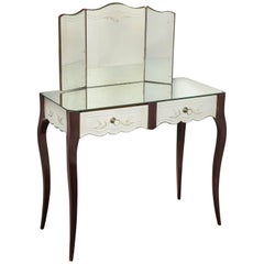 Period French Art Deco Mirrored Etched Vanity with Folding Mirror