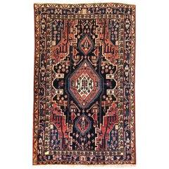 Persian Hand-Knotted Tribal Indigo Blue Hamadan Rug