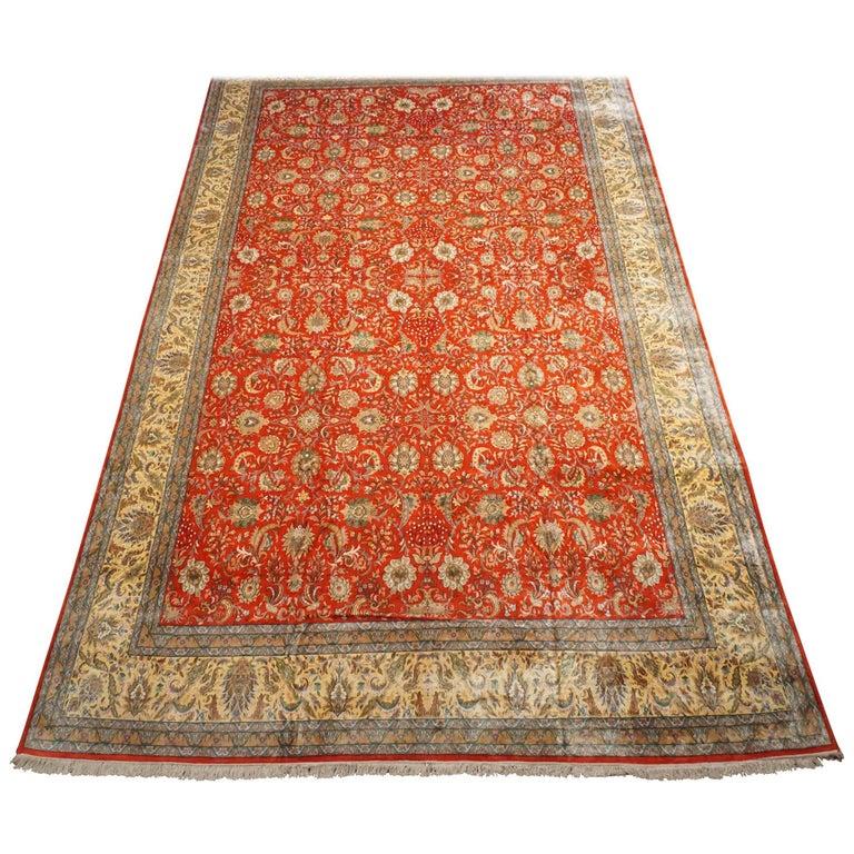 700 KPSI Pure Silk Indo-Tabriz Rug, Kashmir For Sale At