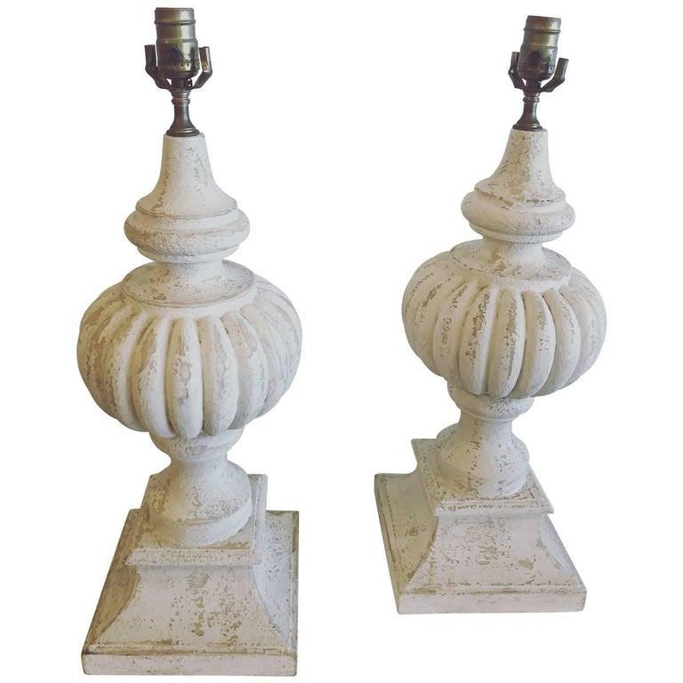 Pair of Vintage Urn Traditional Table Lamps Architectural Oversized