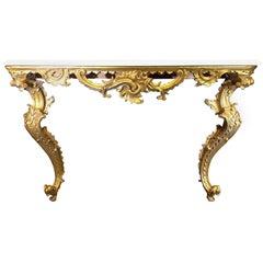 Italian Rococo Giltwood Console, 18th Century
