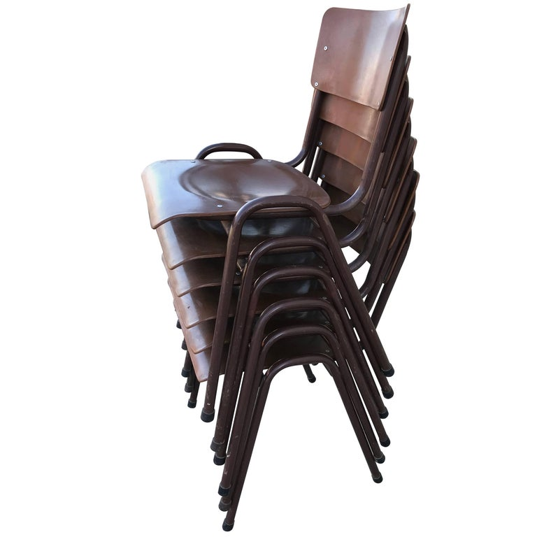 Set Of Six 1950s Danish Stacking Chairs For