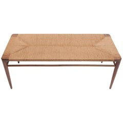 "Walnut and Natural Rush 60"" Bench by Smilow Furniture"