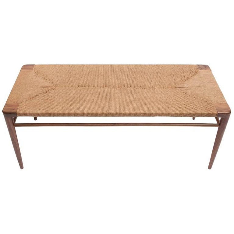 Walnut and Natural Rush Bench by Smilow Furniture