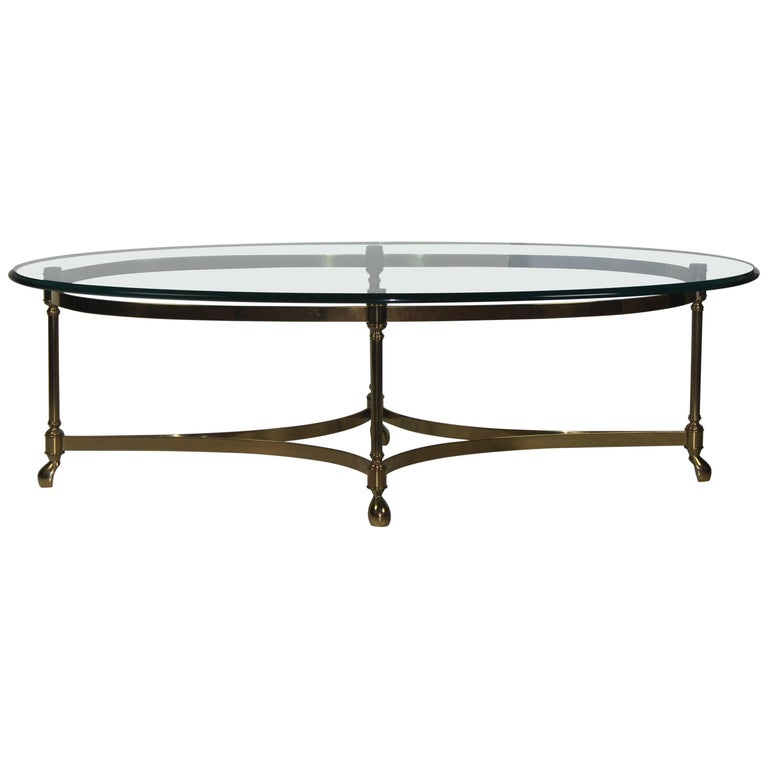 Oval shape glass top coffee table at 1stdibs Oval shaped coffee table