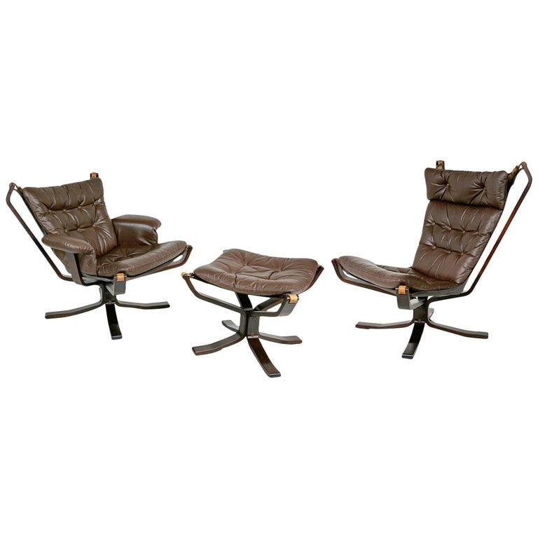 His & Hers Falcon Chairs & Ottoman Attributed to Sigurd Ressell for Vatne Møbler