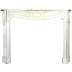 French Antique White Marble Fireplace Louis XV Style 19th Century, Paris, France