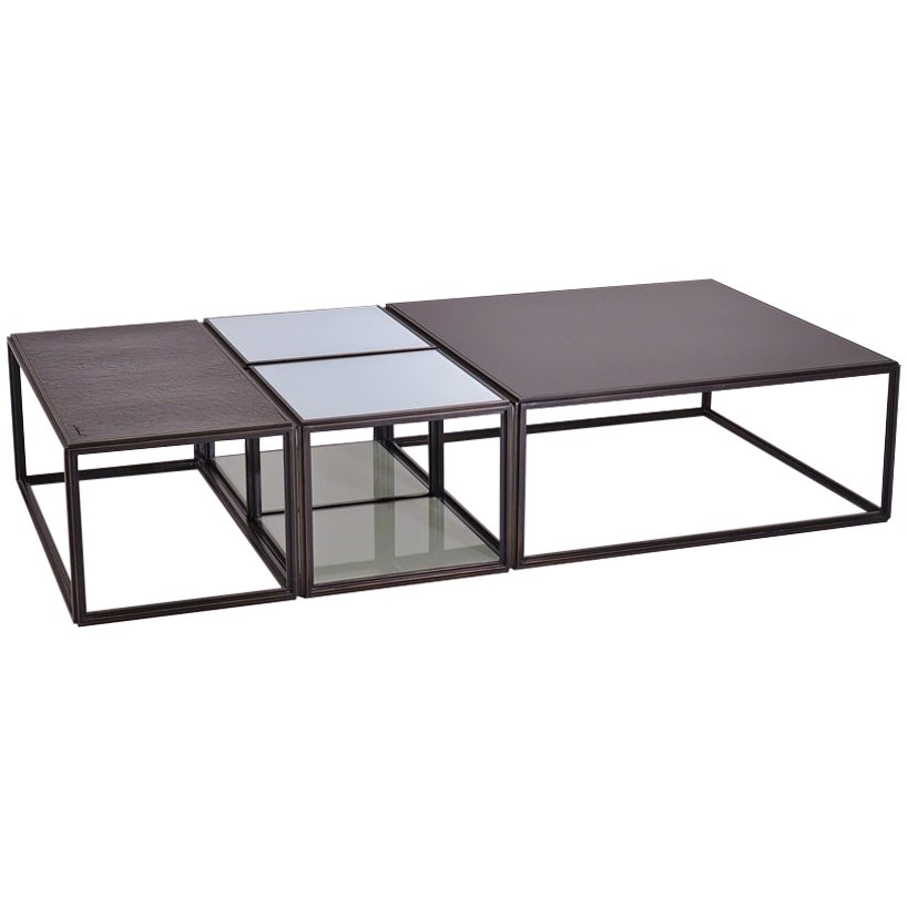 Modular Low Table Collection, Brass and Glass
