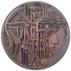Midcentury Cast Bronze Relief Plaque