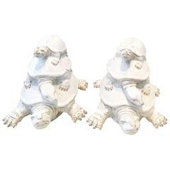 Pair of Glazed Ceramic Triple Turtle Sculptures