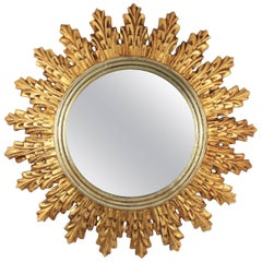 1950s Spanish Gilded and Silvered Carved Wood Sunburst Mirror