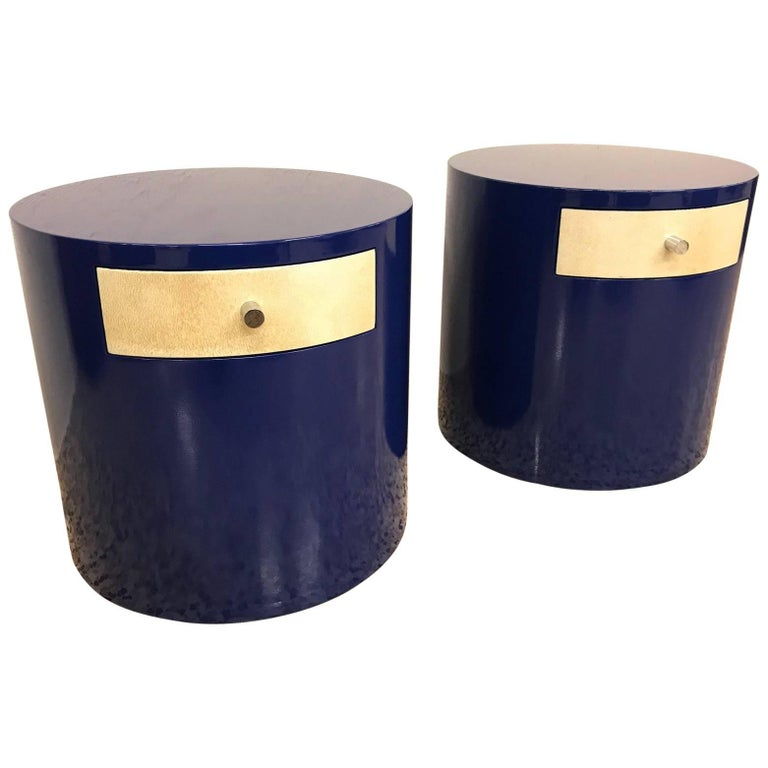 Pair of Mid-Century Modern Blue and Parchment Nightstands, 1970s