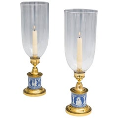 Fine Pair of Wedgwood Base Georgian Storm Lights