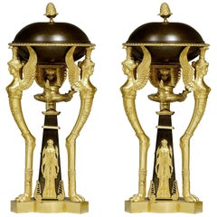 Antique Empire Style Ormolu and Patinated Bronze Cassolettes
