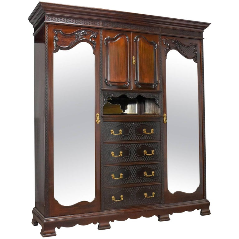 Antique Wardrobe, Carved Mahogany, English, Compactum, Edwardian circa 1910  For Sale - Antique Wardrobe, Carved Mahogany, English, Compactum, Edwardian
