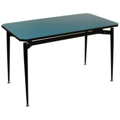 Table Wood Formica Metal Basement Brass Vintage, Italy, 1950s-1960s
