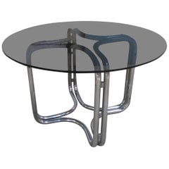 Italian Chrome Base and Smoked Glass Top Dining Table by G. Stoppino from 1970s