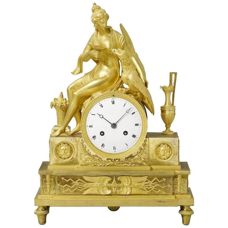 Antique Neoclassical Style Gilt Bronze Mantel Clock For Sale