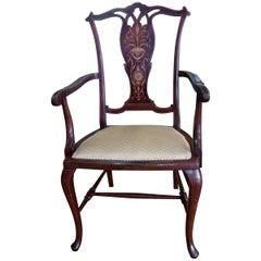 Edwardian Mahogany and Satinwood Inlaid Armchair