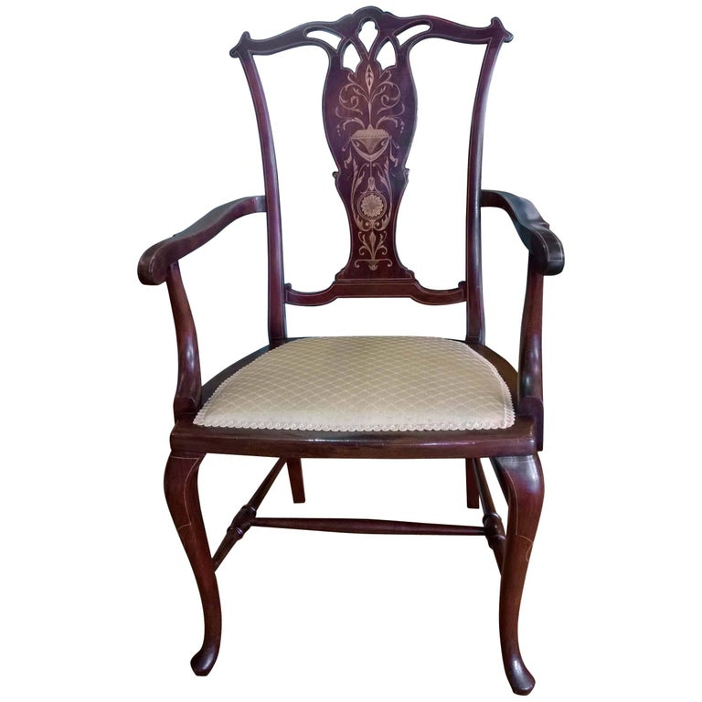 Edwardian Mahogany and Satinwood Inlaid Armchair For Sale