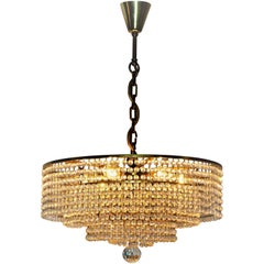 Elegant Crystal and Brass Chandelier by Lobmeyr or Bakalowits, circa 1960s