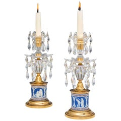 Rare Pair of Georgian Two-Color Wedgwood Candlesticks