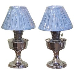 Pair of Art Deco 1930s Chrome Parafin Lamps